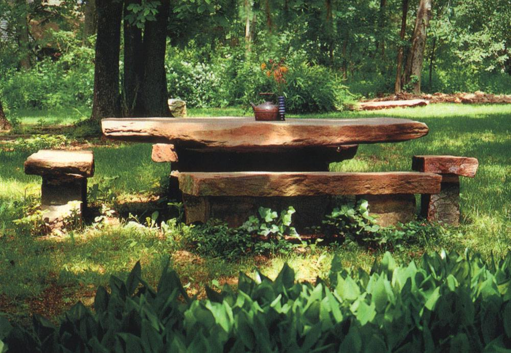 Stone Picnic Table With Benches